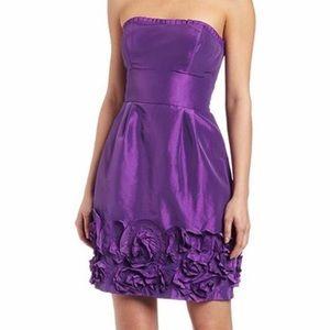 Max & Cleo strapless taffeta dress rosette skirt